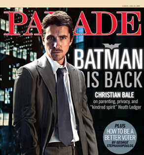 Christian Bale as Batman on Cover of Parade Magazine
